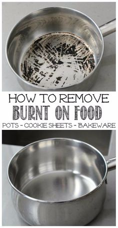 Remove Burnt Food from Pots Great tips to remove burnt on food from stainless steel pots - works on cookie sheets and other baking items too!Great tips to remove burnt on food from stainless steel pots - works on cookie sheets and other baking items too! Household Cleaning Tips, Deep Cleaning Tips, Toilet Cleaning, House Cleaning Tips, Natural Cleaning Products, Spring Cleaning, Cleaning Hacks, Diy Hacks, Green Cleaning