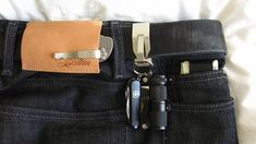 approvedgearnstuff:  I love a new take on edc. Very cool carry setup. Approved. reigncityedc:  92188:  Never thought of carrying a smaller knife this way.  Another interest of mine is Raw Denim, this is pretty cool.