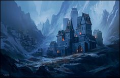 Fantasy Environment Concept Art Painted by Andreas Rocha Fantasy City, Fantasy Castle, Fantasy Places, High Fantasy, Fantasy Rpg, Medieval Fantasy, Fantasy World, Concept Art World, Fantasy Concept Art