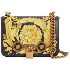 Versace Women Small Baroque Print Leather Shoulder Bag ($2,470) ❤ liked on Polyvore featuring bags, handbags, shoulder bags, coin purses, beige shoulder bag, beige leather purse, leather coin purse and genuine leather handbags