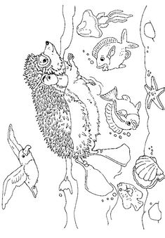 Hedgie in the Ocean coloring page
