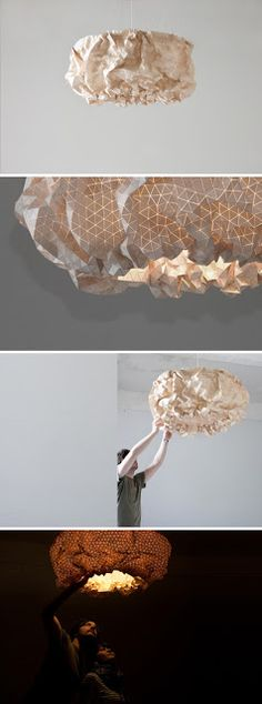 So on and so forth: design Unique Lighting, Lighting Design, Everything Is Illuminated, Lamp Inspiration, Creative Lamps, Paper Light, I Love Lamp, Handmade Lamps, Diy Chandelier