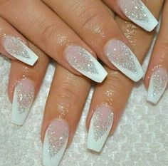 Best Winter Nails for 2017 - 67 Trending Winter Nail Designs - Best Nail Art White Silver Clear Glitter Acrylic Coffin Nails Manicure - French tip - Square shaped long nails - cute summer fall spring fingernails - gel nails - shellac - Xmas Nails, Holiday Nails, Christmas Acrylic Nails, Christmas Nail Designs, Prom Nails, Christmas Glitter, White Nail Designs, Nail Art Designs, Best Nail Designs