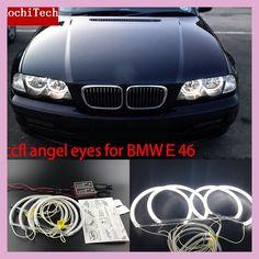 HochiTech WHITE 6000K CCFL Headlight Halo Angel Demon Eyes Kit angel eyes light for BMW E46 NON PROJECT Coupe Sedan