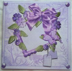 Purple Floral Square Quick Card by Sharon Wilson