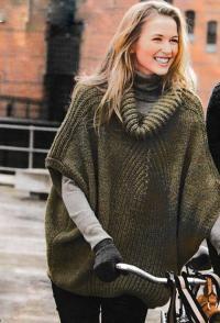 Спицами пончо-пуловер оверсайз с объемным воротником фото к описанию