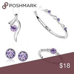 Violet Crystal Pendant Set Violet Crystal Pendant Necklace, Bracelet, Ring (Size 8) , and Earrings Set Jewelry Necklaces