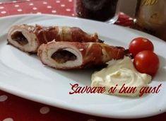 Rulou din piept de pui umplut cu prune si invelit in bacon Carne, French Toast, Pancakes, Bacon, Breakfast, Food, Morning Coffee, Essen, Pancake