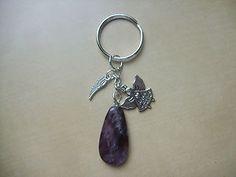 AMETHYST 'Angel of Calm' Crystal, Gemstone Bag charm / keyring | eBay