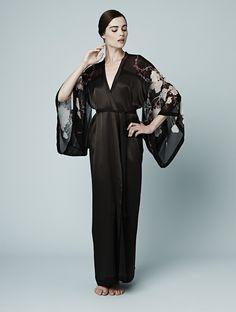 Meng AW14 luxury loungewear - Cherry Blossom print - silk georgette satin kimono - black