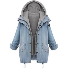 Choies Blue Zipper Denim Coat with Detachable Hooded Waistcoat found on Polyvore featuring polyvore, fashion, clothing, outerwear, coats, jackets, tops, blue, denim coat and blue coat