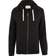 River Island Black Shoulder Patch Hoodie (270 VEF) ❤ liked on Polyvore featuring mens, men's clothing, men's hoodies, hoodies, men, guys, men clothes and outerwear
