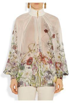 Gucci|Floral-print smocked silk-chiffon top|NET-A-PORTER.COM