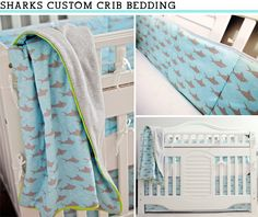 Would LOVE this for Jakobi!  I love the sharks and the colors of the blue and lime green! (: