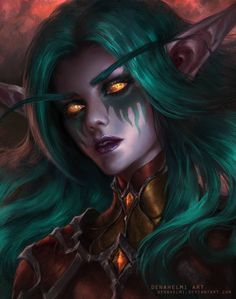 World of Warcraft Art Board ^^ // Blizzard // wow // // Digital // Night Elf World Of Warcraft, Warcraft Art, Dark Fantasy Art, Fantasy Girl, Character Portraits, Character Art, Zelda Cosplay, Wow Elf, Elfen Fantasy
