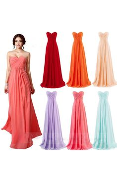 Pastel A-line Sweetheart Floor Length Chiffon Bridesmaid Dress