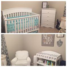 Teal, grey and white nursery.  #beautiful #baby #room #inspiration #elephants #quatrefoil