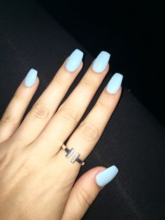 Light blue acrylic nails acryl # acrylic nail # light blue haircuts for hands each . - Light blue acrylic nails ❤️ nail # light blue, Haircuts for each face, make-up for eve - Acrylic Nails Light Blue, Simple Acrylic Nails, Summer Acrylic Nails, Pastel Nails, Simple Nails, Light Nails, Acrylic Nail Designs, Sky Blue Nails, Summer Nails