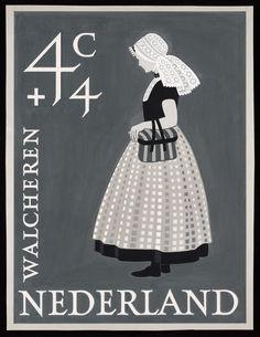 Volledig ontwerp voor Zomerpostzegel 1958, Klederdracht Walcheren