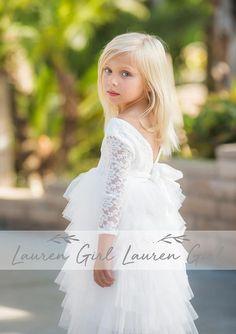 Marcie Dress White White Tutu, White Dress, White Flower Girl Dresses, Tiered Skirts, Lace Bodice, Stretch Lace, Kids Fashion, Photoshoot, Elegant