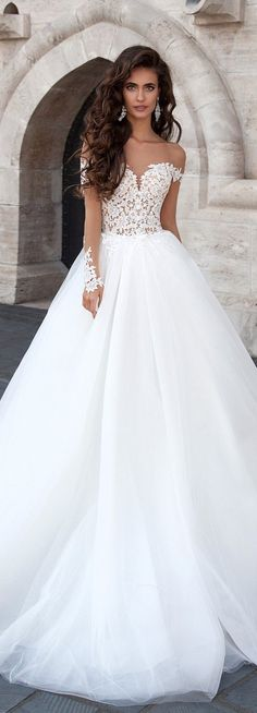Cheap robe de mariee, Buy Quality wedding dresses sheer directly from China bridal gown Suppliers: Robe de Mariage 2017 Sexy Backless Puffy Tulle Wedding Dresses Sheer Long Sleeves Vestido de Novia Bridal Gowns Robe de Mariee Weeding Dress, Dream Wedding Dresses, Princess Wedding Dresses, Bridal Dresses, Wedding Gowns, Bridesmaid Dresses, Mila Nova Wedding Dress, Ivory Wedding, Backless Wedding