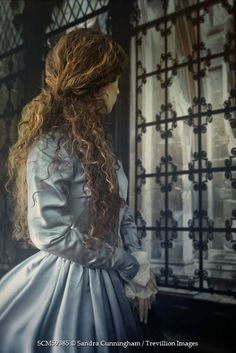Sandra Cunningham HISTORICAL WOMAN IN BLUE GOWN BY WINDOW Women