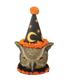 """""""Who, whooo, done it? """"Old sorcerer owl, is giving your guests the evil eye. A new paper mache piece that has got the Halloween collectors going bird wild. Wise Old Sorcerer Owl Container is seeing a"""