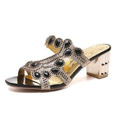 These sandals feature sleek slip-on styling and glittery rhinestone accents. They're perfect for dinner dates, late nights, special occasions and more. Summer Slippers, Slipper Sandals, Beach Flip Flops, Low Heels, Open Toe, Slip On, Lady, Dinner Dates, Crystal