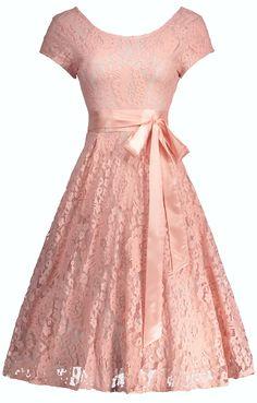 Floral Lace Self-Tie Vintage Cocktail Dress