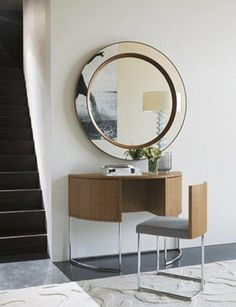 mirror and table vanity. i love how the chair tucks away! smart!