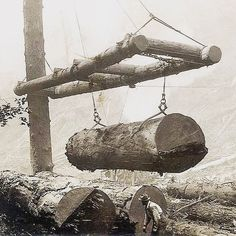 Log Booms used for loading cut redwood lumber onto railcars for transport to the mills Giant Tree, Big Tree, Old Pictures, Old Photos, Logging Equipment, California Travel, Vintage Photographs, Historical Photos, Logs