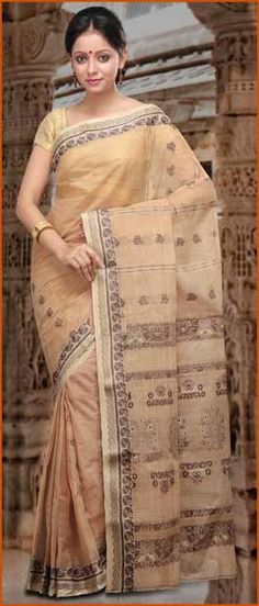 Beige #Cotton Bengal Handloom Tant #Saree With #Blouse @ $54.51 | Shop Here: http://www.utsavfashion.com/store/sarees-large.aspx?icode=szc4947