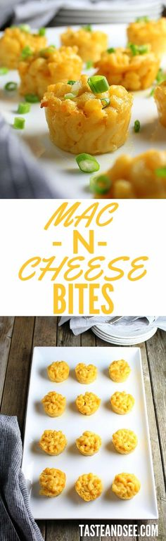 Mac N Cheese Bites recipe - it's the ultimate comfort food. A decadent combination of Gruyere & Cheddar cheese… little gifts of goodness in every bite! Appetizers For Party, Appetizer Recipes, Night Food, Girls Night In Food, Game Night, Good Food, Yummy Food, Delicious Recipes, Cheese Bites