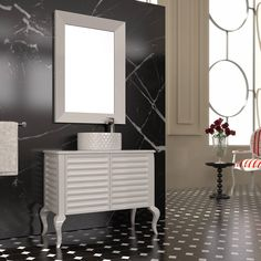 "SAVVOPOULOS SA "" LA ROMANZA"" BATHROOM FURNITURE,home,new,interior design,accesories,set,new,style,bath,tiles,product,idea,decoration,woman,mirror,porcelain,επιπλο μπανιου,μπανιο,νιπτηρας,καθρεπτης,πλακακια,modern,classic,rombo,black,white"