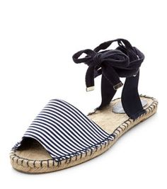 Navy Stripe Front Lace Up Espadrilles