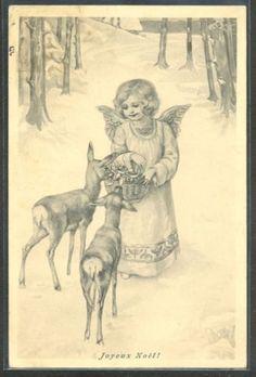KQ116-VIENNE-Style-Xmas-NOEL-ANGE-ANGELOT-BICHES-CUPID-ANGEL-feeding-DEERS-SNOW