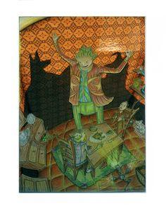 Ilusionista, técnica mista sobre cartão prensado; trabalho com moldura em madeira castanho-escura e passepartout branco (53 X 43 cm) - 50 euros.