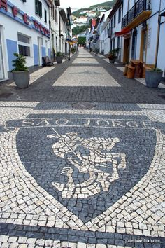 Streets of São Jorge, Azores. The island is named after the legendary Saint George so dragon motifs abound.