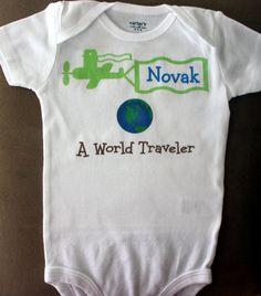 World Traveler onesie or toddler shirt by PolkaDautz on Etsy, $16.00