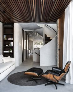 Braid Rug in Charcoal Interior Design: Adjani Australian Interior Design, Interior Design Awards, Timber Screens, Concrete Stairs, Concrete Floors, Timber Ceiling, Open Plan Living, Rugs In Living Room, Room Rugs