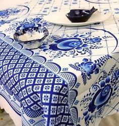 Polyester Kitchen Tablecloth Gzhel 145 x Stain Resistant NEW Kitchen Tablecloths, Russian Folk, The 100, Traditional, Pretty, Painting, Kitchen Towels, Painting Art, Paintings