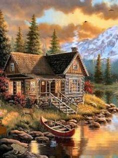 Peaceful Cabin Cross Stitch Pattern **FREE SHIPPING**