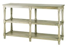 PRODUCT NAME: Loro Double Dumbwaiter DIMENSIONS: 37h x 18d x 59w MATERIAL: WOOD FINISH: Antique Silver Wash