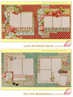 Lazy Summer Days and On the Boardwalk Two, 2-Page Layout Kit, complete with instructions, by PaisleysandPolkaDots.com for a limited time featured at www.scrapclubs.com