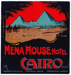 Vintage Mena House Hotel, Cairo, Egypt luggage label