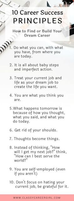 Career infographic : 10 Career Success Principles How to Find or Build Your Dream Career list