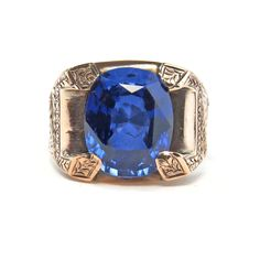 Exquisite Sapphire Gold and Sterling Men's Signet Ring  #findatreasure