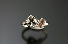 14kt white gold with zultanite and sunstone engagement ring