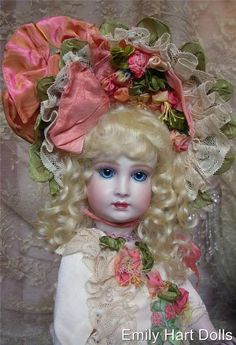 French Bebe Halopeau 5H porcelain doll by Emily Hart Grandmaster dollmaker, costume with silk ribbon work by Mary Lambeth