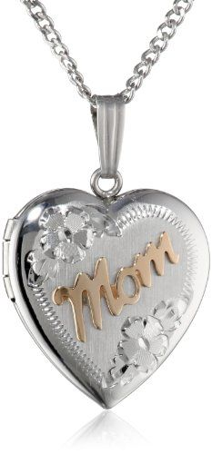 "47% Off was $130.00, now is $69.00! Sterling Silver and 14k Yellow Gold ""Mom"" Heart Locket, 18"""